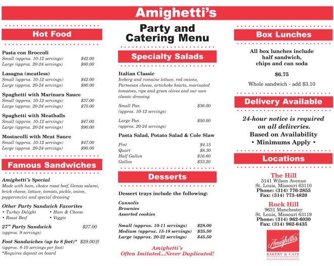 hilll and rock hill catering menu with no second page
