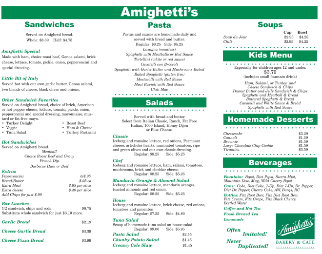 hilll and rock hill restaurant menu with no second page